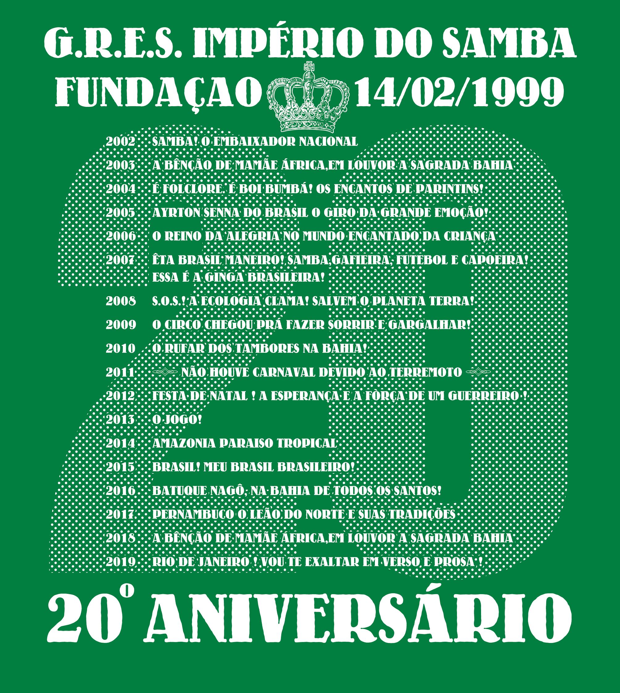 <背面>インペリオの2002年から2019年までの浅草サンバカーニバル参加テーマ全17回を記載 ダミアォンさんの大偉業です♪
